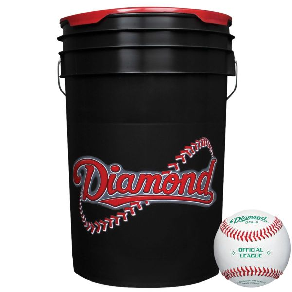 Diamond Black Bucket with DOL-A OL Baseballs (30 Balls)