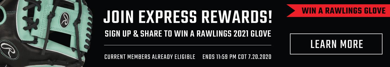 Express Rewards Promo - Chance To Win A Free Rawlings 2021 Baseball Glove